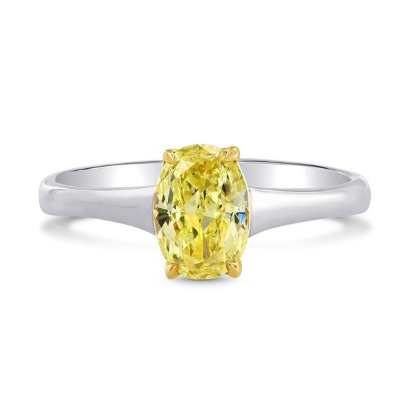 18k White and Yellow Gold 1 1/10ct TDW Yellow Diamond Engagement Solitaire Ring