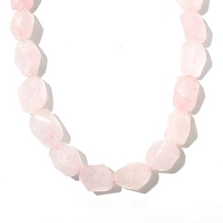 "Sterling Silver 18"" Rose Quartz Nugget Bead Necklace"