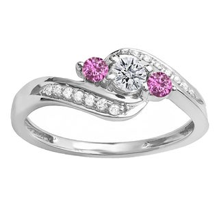 14k White Gold 1/2ct TW Round Pink Sapphire and White Diamond Bridal Ring (H-I, I1-I2)