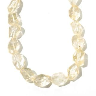 "Sterling Silver 18"" Quartz Nugget Bead Necklace."