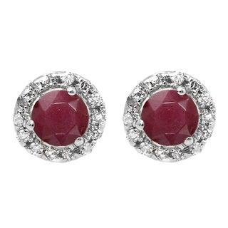 10k White Gold 1/3ct TW Round Ruby and White Diamond Halo Stud Earrings (I-J, I1-I2 )