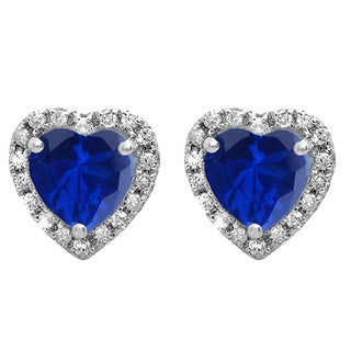 10k White Gold 2 1/4ct TW Heart Blue Sapphire and Round Diamond Stud Earrings (I-J, I2-I3 )