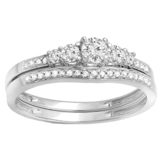 14k Gold 3/4ct TDW Round-cut Diamond 5-stone Bridal Set (H-I, I1-I2)