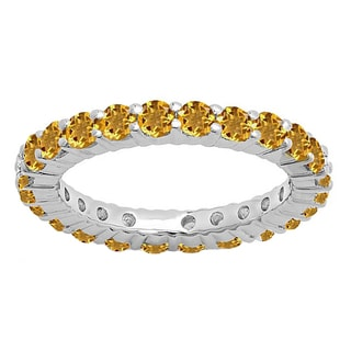 14k Gold 1ct TW Round Citrine Eternity Wedding Stackable Band