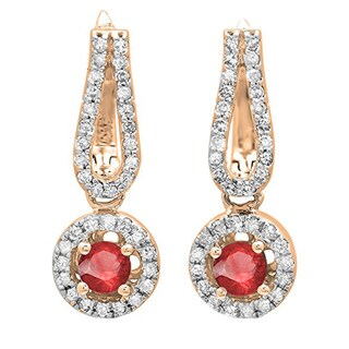 14k Rose Gold 5/8ct TW Round Ruby and White Diamond Halo Style Dangling Drop Earrings (I-J, I1-I2 )