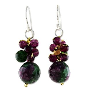 Handcrafted Sterling Silver 'Luscious Fruit' Quartz Earrings (Thailand)