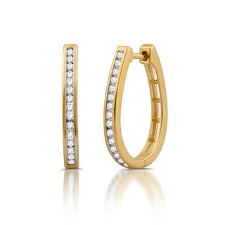 Yellow Goldplated Sterling Silver 1/2ct TDW White Diamond Oval Hoop Earrings