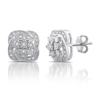 Sterling Silver 1/8ct TDW White Diamond Fashion Stud Earrings (I-J, I1-I2)