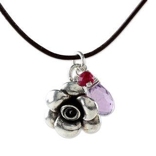 Handcrafted Sterling Silver 'Rose of Sharon' Amethyst Ruby Necklace (Thailand)