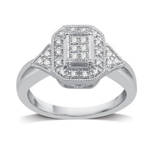 Sterling Silver 1/4ct TDW Diamond Bridal Ring (I-J, I2-I3)
