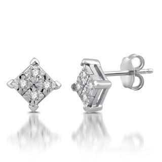 10k White Gold 1/10ct TDW Diamond Stud Earrings (I-J, I2-I3)