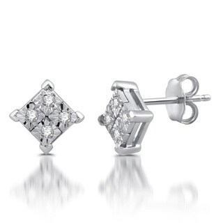 10k White Gold 1/10ct TDW Diamond Stud Earrings