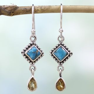 Handcrafted Sterling Silver 'Radiant Princess' Citrine Turquoise Earrings (India)