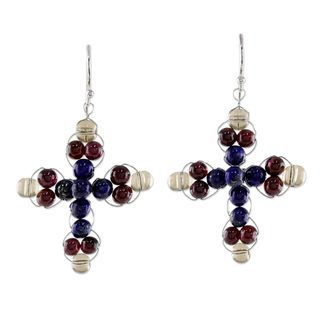 Handcrafted Sterling Silver 'Cross of Hope' Lapis Lazuli Garnet Earrings (Thailand)