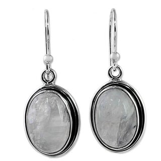 Handmade Sterling Silver 'Lunar Goddess' Rainbow Moonstone Earrings (India)