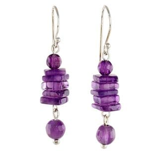 Handcrafted Sterling SIlver 'Purple Monoliths' Amethyst Earrings (Thailand)