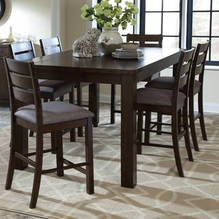 Rustic Block Plank Design Casual Counter Height Dining Table with Exposed Metal Brackets
