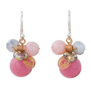 Handcrafted Sterling Silver Copper 'Pink Bubbles' Quartz Earrings (Thailand)