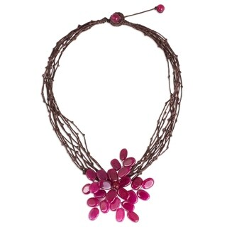 Handmade Stainless Steel 'Twigs and Flowers' Pink Quartz Necklace (Thailand)