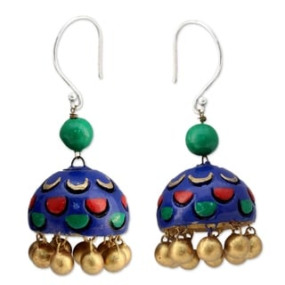 Handcrafted Sterling Silver Ceramic 'Royal Blue Regalia' Earrings (India)