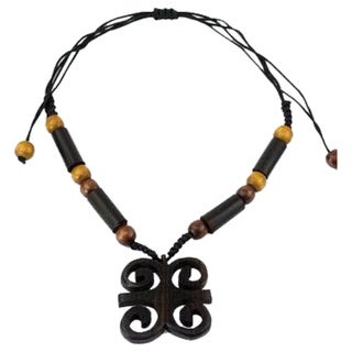 Handcrafted Ebony Wood 'Ram's Horns' Necklace (Ghana)