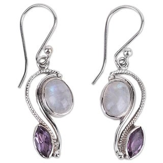Handmade Sterling Silver 'Colorful Curves' Amethyst Rainbow Moonstone Earrings (India)