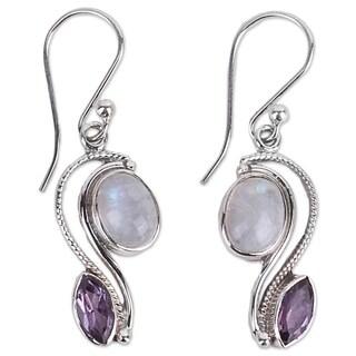Handmade Sterling Silver 'Colorful Curves' Amethyst Rainbow Moonstone Earrings (India)