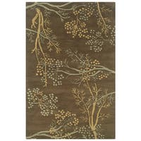 Rizzy Home Craft Brown Hand-tufted Wool Rug (5' x 8') - 5' x 8'