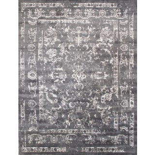 """Pasargad's Transitional Collection Hand-Knotted Grey Viscose from Bamboo Silk Area Rug (9' 3"""" x 12')"""