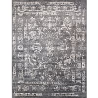 Transitional Hand-Knotted Grey Viscose B.Silk Rug (12' x 15') - 12 x 15