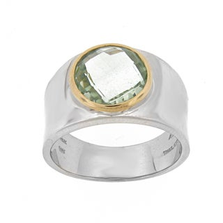 Meredith Leigh 14k Gold and Sterling Silver Bold Green Amethyst Ring