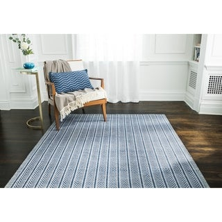 Jani Cali Blue Cotton/Jute Handwoven Rug - 9' x 12'
