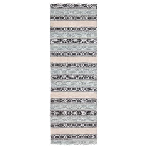 """Jani Tribe Blue and Peach Natural Fibers Handwoven Rug - 2'6"""" x 8'"""