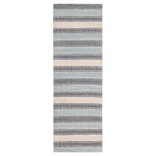 Jani Tribe Blue and Peach Natural Fibers Handwoven Rug (2'6 x 8')