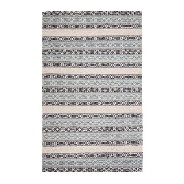 Jani Tribe Blue and Peach Natural Fibers Handwoven Rug - 8' x 10'