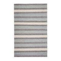 Jani Tribe Blue and Peach Natural Fibers Handwoven Rug - 9' x 12'