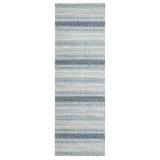 Jani Tribe Blue and Ivory Natural Fibers Handwoven Rug (2'6 x 8')