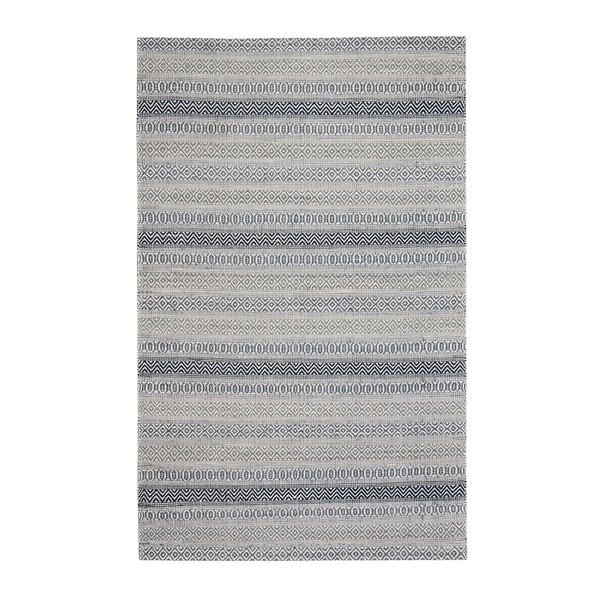 Jani Tribe Blue and Ivory Natural Fibers Handwoven Rug - 9' x 12'