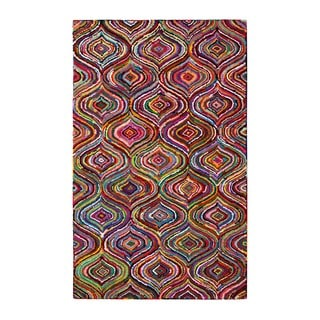 Jani Ante Multi-colored Mod Geometric Pattern Recycled Cotton Rug (2'6 x 8')