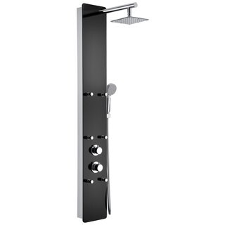 ANZZI Melody 6-jetted Full Body Shower Panel System in Black Deco-Glass