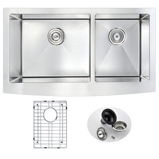 ANZZI ELYSIAN Series Farmhouse Stainless Steel 36-inch Double Bowl Kitchen Sink