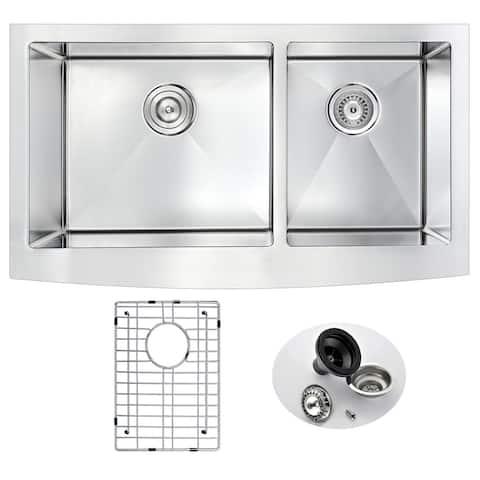 """ANZZI Elysian 33"""" Farmhouse 60/40 Double Bowl Kitchen Sink"""