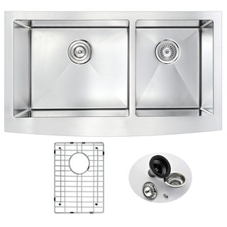 ANZZI ELYSIAN 33-inch Farm House 60/40 Dual Basin Stainless Steel Kitchen Sink