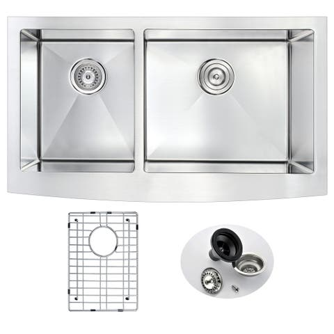 ANZZI Elysian 36 in. Farm House 40/60 Dual Basin Handmade Stainless Steel Kitchen Sink