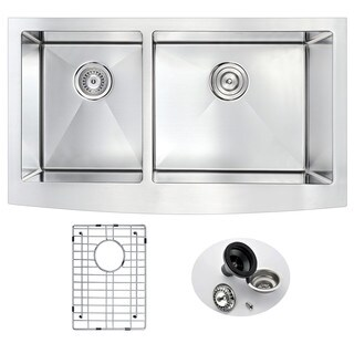 ANZZI ELYSIAN Series 36 in. Farm House 40/60 Dual Basin Handmade Stainless Steel Kitchen Sink