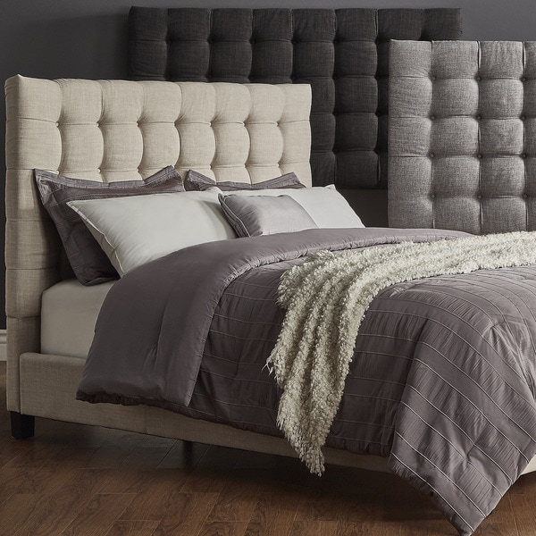 briella button tufted linen upholstered king size bed inspire q modern - King Size Bed Sheets