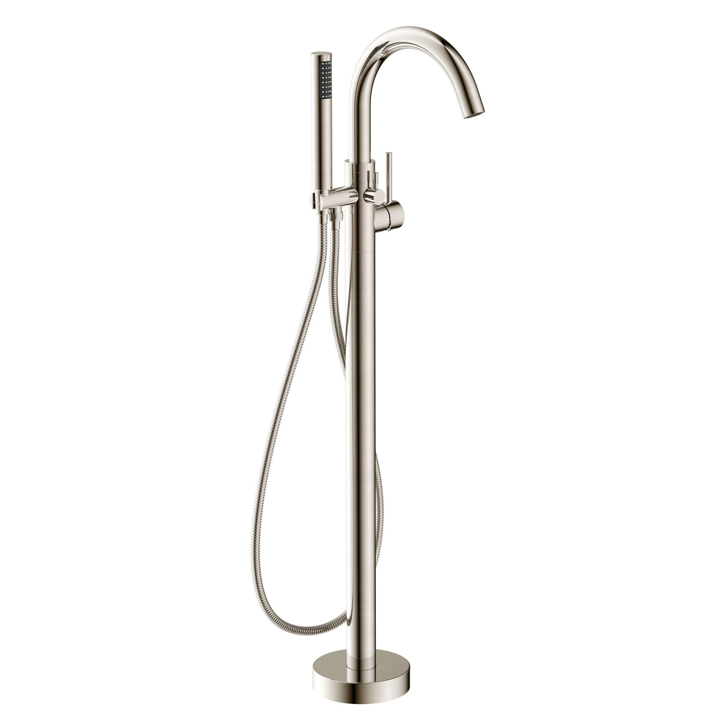 Anzzi Kros Series 2 Handle Freestanding Claw Foot Tub Faucet With Hand Shower In Brushed Nickel