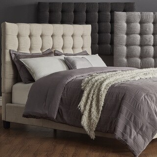 Briella Button Tufted Linen Upholstered Bed iNSPIRE Q Modern