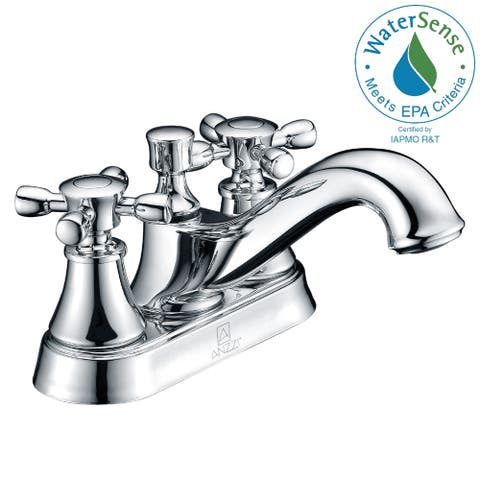 ANZZI Major Series 4-inch Centerset 2-handle Mid-arc Bathroom Faucet in Polished Chrome