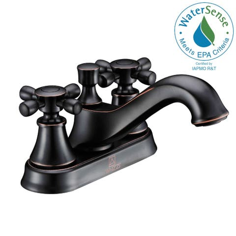 ANZZI Major Series 4-inch Centerset 2-handle Mid-arc Bathroom Faucet in Oil Rubbed Bronze